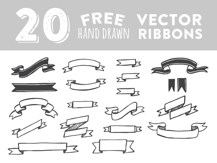 20.Hand.Drawn.Vector.Ribbons.LimooGraphic.com